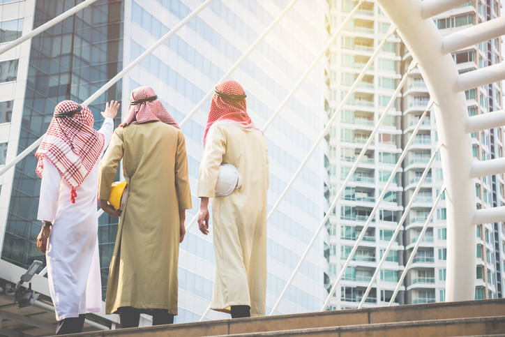 Dubai business people at construction site in city